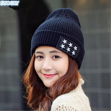 Winter Hats For Women Men Knitted Cap Star Pattern Hat Female Beanie Warm Bonnet Skullies Beanies Gorros Bone Male 2017 New(China)