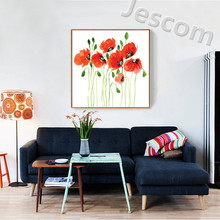 framed picture painting beautiful bright coloured Poppy flower wall art for living room sofabackground decor ready to hung