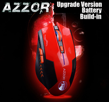 AZZOR Rechargeable Wireless Mouse Mice Laser Gaming 2400 DPI 2.4G FPS Gamer Silence Lithium Battery Build-in High Performance