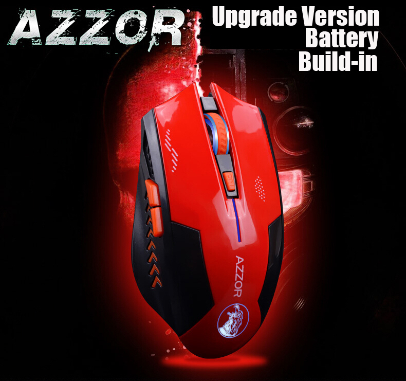 AZZOR Rechargeable Wireless Mouse Mice Laser Gaming 2400 DPI 2.4G FPS Gamer Silence Lithium Battery Build-in High Performance(China (Mainland))