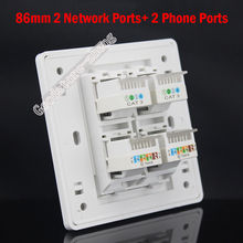 Wall Plate 4 Ports Dual Cat3 RJ11 Telephone Phone + Dual Port Network Lan Cat5e Socket Outlet Panel Faceplate Wholesale Lots
