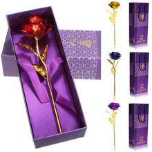 Creative Valentines day/ Birthday / wedding gift 24k Golden Rose Lover's Flower Gold Dipped Rose Artificial Flower with Box(China)