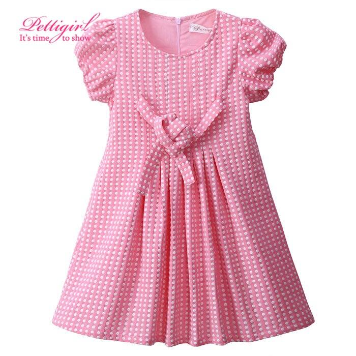 2017 New Kids Summer Dress Pink Girls Clothing Dresses Dot Bbay Girl Clothes<br><br>Aliexpress