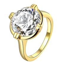 ORP 2017 New fashion jewelry High Quality wedding rings 24K Plated gold lnlaid white gem top luxury zircon Rings for women