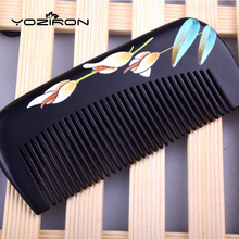 2017 New factory wholesale gift comb  lacquer art hand-painted customizable hair massage combs peach Wood pocket combs Y031