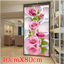 Needlework Diy Diamond Painting Cross Stitch Pink Rose Diamond Embroidery Flower Serie Vertical Print Rubik's Cube Drill Picture(China)