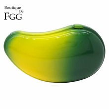 Fresh Women ABS Fruit Mango Shape Mini Acrylic Clutch Bag Wedding Cocktail Party Evening Clutches Metal Hardcase Handbags Purse