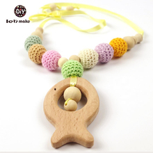Let's Make Organic Teething Necklace Crochet Beads And Beech Wood Fish Teething Nursing Necklace Pendant Teething Toy
