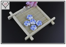 Wholesale Charm Bead Accessories 10pcs/lot 15mm Blue Floweret Printing Porcelain Ceramic DIY Findings Fit Jewelry Craft Making