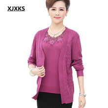 M-XXXL Really Two Pieces Knitted Sweater Set New 2017 Women O Neck Long Sleeve Cardigan Plus Size Loose Women Sweater Suits(China)