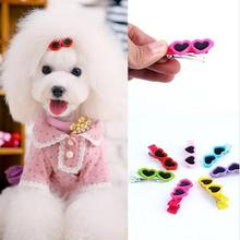 30pc/lot Big sale Cute Sunglass Shape Pet Dog Puppy Hair Clips Kitten Hair Bows Pet Hairpin Grooming Accesso dog hair clips L144