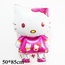 5pcs 85*50cm hello kitty foil balloons pink color large size air balloons for girl birthday balloons hello kitty party supplies(China)