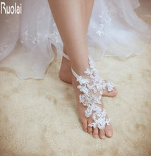 2017 Hot Sale Appliques Sequin Barefoot Sandals Retaile Sandbeach Wedding Bridal Bridesmaid Wedding Accessory(China)