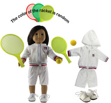 "5in1 Set Doll Clothes Top+shorts+shoes+racket+tennis Fashion Casual Wear Outfit for 18""American Girl Doll"