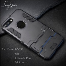 [Long Steven] For iPhone 7 \ 7 Plus Case IRON MAN Protective Holder Stand Hybrid Dual Cover For iPhone 5 5s SE 6 6s Plus Fundas