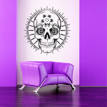 Sugar Skull Floral Pattern Creative Designed Wall Stickers Home Art Cool Decor Wall Mural Fashion Style Skull Circle Decal(China)