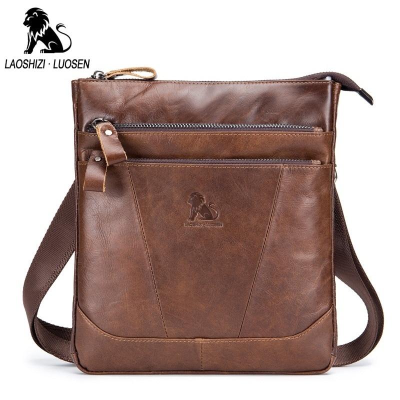 LAOSHIZI LUOSEN Brand Design Men Messenger Bag Genuine Leather Vintage Mens Crossbody Bags Business Casual Men Shoulder Bags <br>