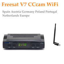 Freesat V7+1 Year CCCAM Cline+USB WiFi Satellite receiver Receptor CCcam Spain UK France IT DE Europe 1080p DVB-S2 Set-top Box