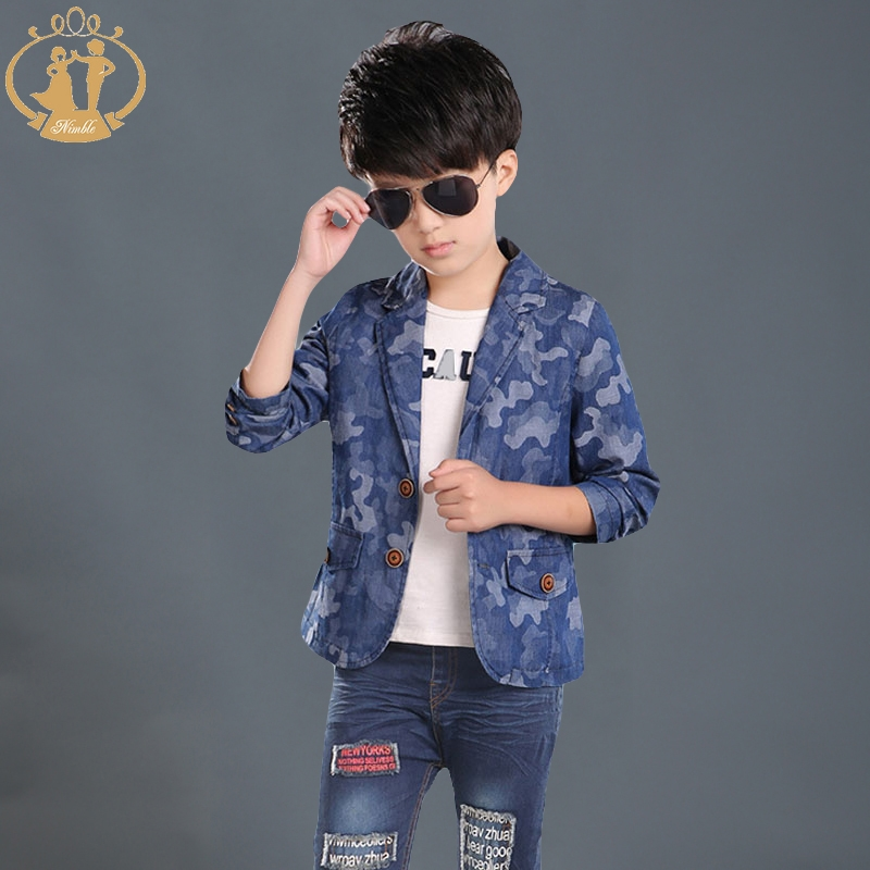 Nimble Boys Cloth Blue Notched Children Casual Blazer Kids Autumn & Winter Outwear Single Breasted Coat One Piece(China (Mainland))