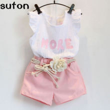 2017 New Summer Baby Girls Set letter print fly sleeve T-shirt+Appliques Belt Shorts Cozy 2PCS Sweet Pink Kids Clothes Set 2-6Y