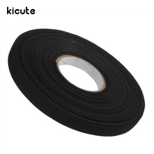 Kicute 1pc Anti Wear Adhesive Cloth Fabric Tape Cable Looms Wiring Harness Black 25MX9MMX0.3MM Tapes School Stationery