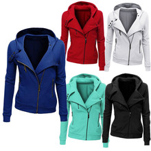 New Arrival Women Autumn Winter Padded Cotton Jackets Long Sleeve Women Hooded Solid Jackets Zip Warm Outerwear Coat