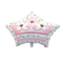 A New Little Princess Foil Mylar Balloons Crown Tiara Balloon for Baby Shower Birthday Party Decoration