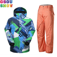 GSOU SNOW Brand Ski Suit Men Ski Jacket Snowboard Pants Sets Winter Mountain Skiing Suits Outdoor Sport Clothing Male Snow Coat(China)