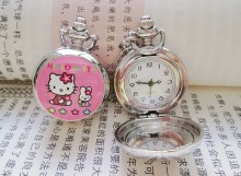 Fashion Classic Hello Kitty Elegant Mirror Pocket Watch Quartz Watch  10pcs/lot