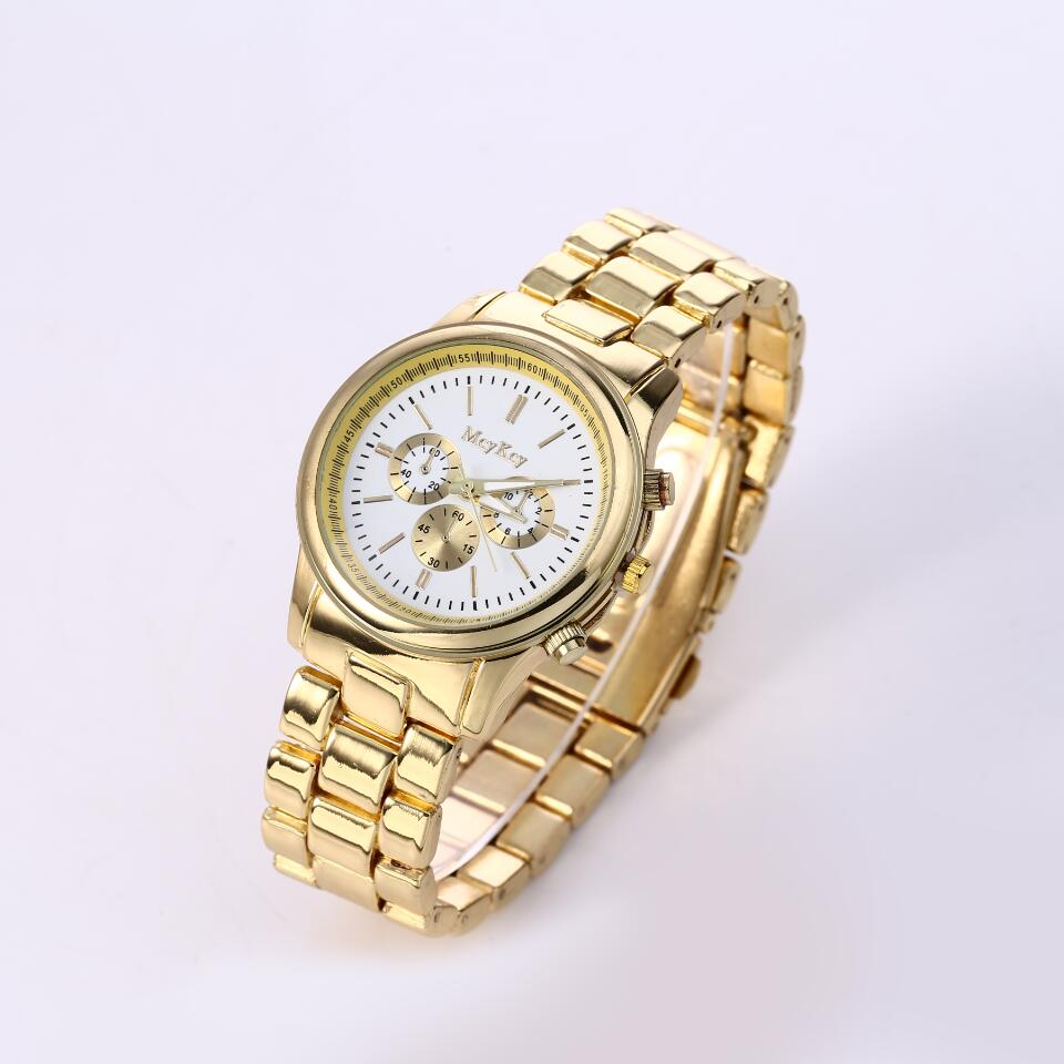 McyKcy New Famous Brand Gold Men 3 Eyes Casual Quartz Watch Men Stainless Steel Dress Watches Relogio Masculino Unisex Clock Hot<br><br>Aliexpress