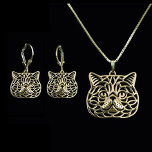 2017 Gold silver Plated Exotic Shorthair cat animal Necklaces earrings jewelry set For Pet Lovers Dog Design Gift For women A169