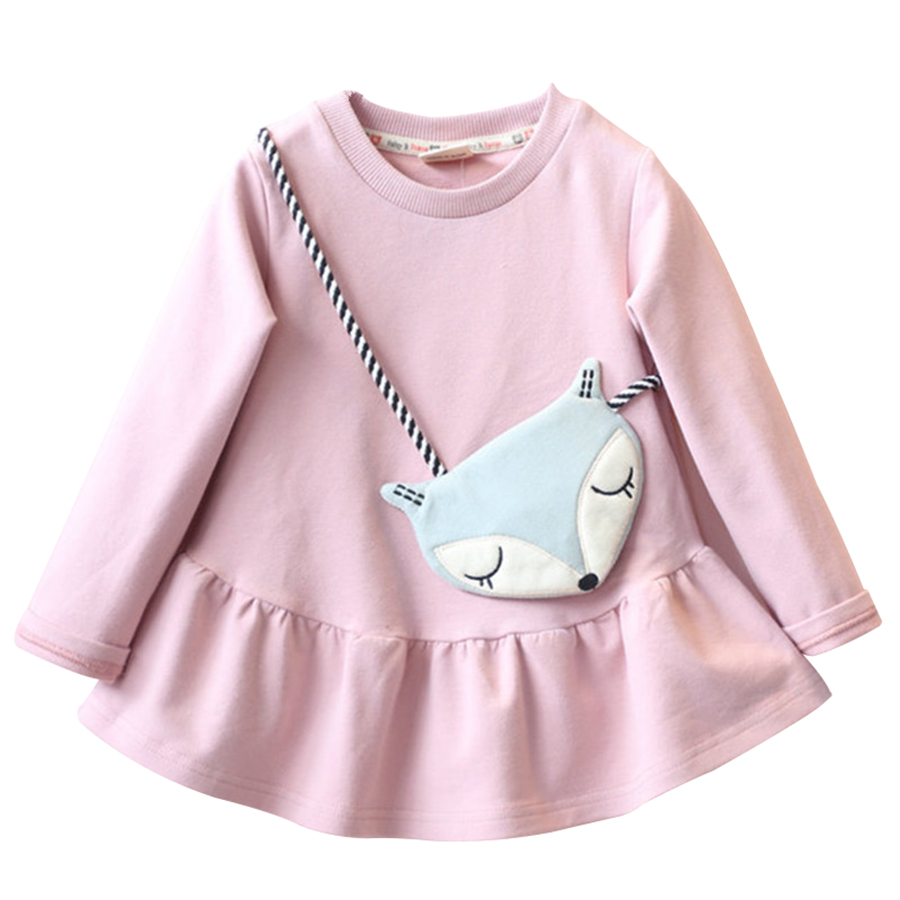 2017 Girls Dress Fox Cartoon Kids Dresses For Girl Clothes Children Solid Vestidos Costume Roupas Infantis Menina X1245<br><br>Aliexpress