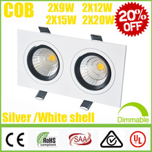 Limited 20% OFF Square CREE 2*(9W 12W 15W 20W) Dimmable /Non COB LED Downlights Fixture Recessed Ceiling Down Lights Lamp SAA UL