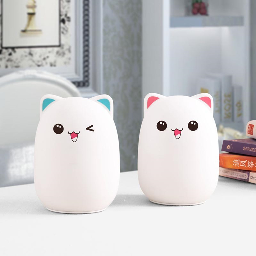 Colorful LED Night Light Lovely Silicone Cartoon Bear Rechargeable Touch Desk Bedroom Decor Tablet Lamp for Kids Girl (9)
