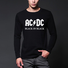 2016 New autumn Camisetas AC/DC band rock T Shirt Men fashion T-shirt Print Casual O Neck Hip Hop streetwear long sleeve Tshirt