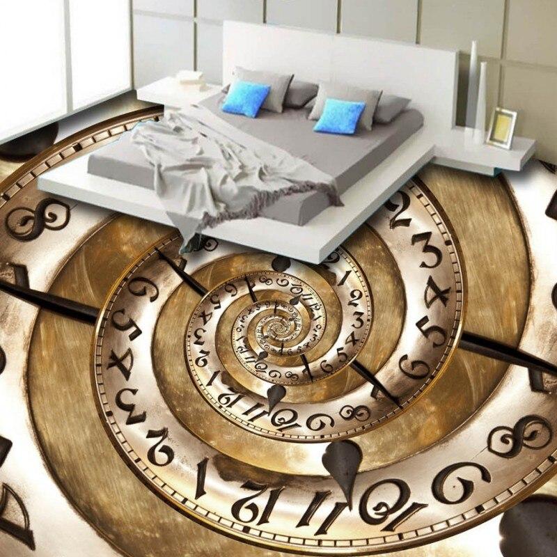 Free shipping custom living room self-adhesive home decoration wallpaper floor roll HD Creative Clock Swirl Stereo 3D Floor<br><br>Aliexpress