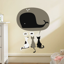 Cartoon 3 Lovely cat Have Dream Cake Mouse Whale wall stickers for Kids Rooms diy home kitchen decor nursery decal wallpaper(China)
