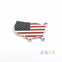 3D United States US Flag Map Emblem Badge Chrome Metal Decal Sticker