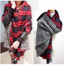 Cheshanf New 2017 Double Sided Large Plaid Houndstooth Scarf Soft Super thick Warm Scarf Tassel Shawl Scraf(China)
