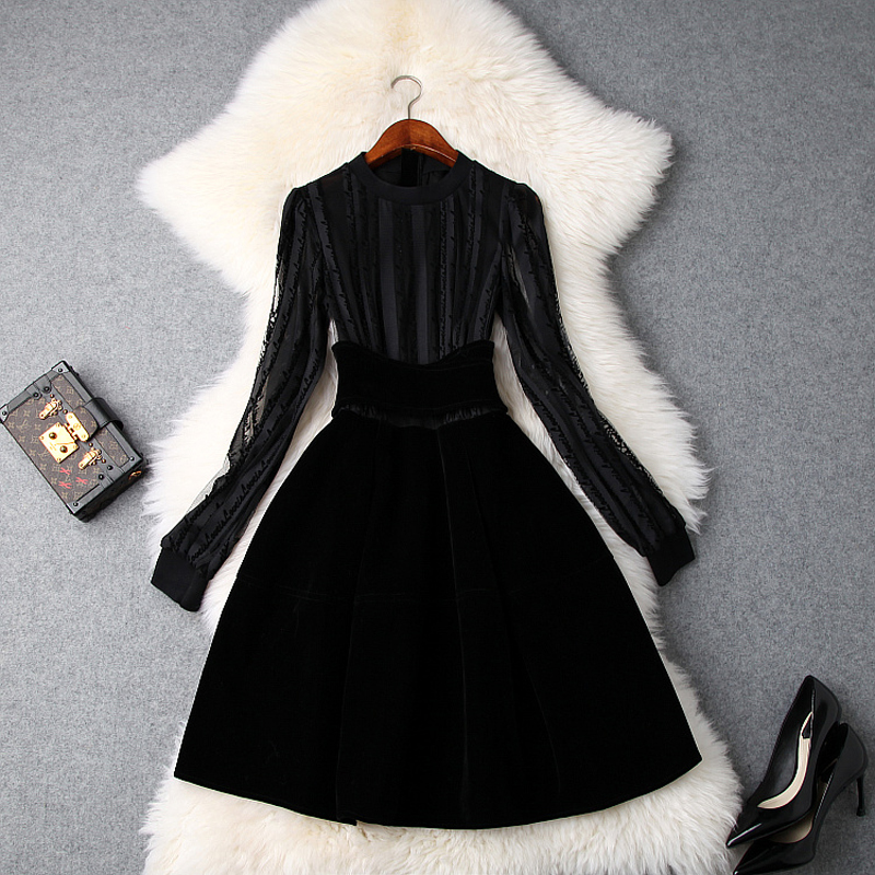 elegant ladies party dress A Line 2018 new office work velvet Patchwork Dress Alphabet Women Long sleeves sexy Empire dresses xl