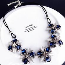 2017 New Styles Fashion Jewelry Navy Blue White Crystal Shiny Statement Flowers Maxi Necklace For Women Christmas Gifts