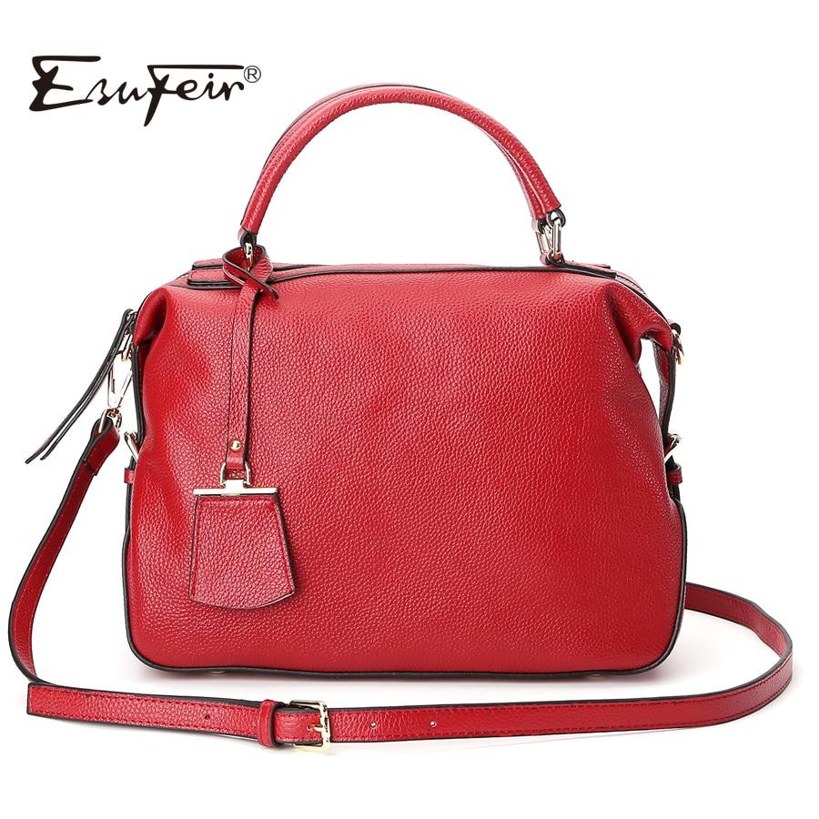 New Arrival 2018 ESUFEIR Genuine Leather Women Handbag Famous Brand Designer Women Shoulder Bag Solid Natural Leather Women Bag<br>