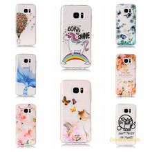 Cover For Samsung S7 Edge Cases 3D Relief TPU Painted balloon flower leaf butterfly cat Pretty Case Phone Shell