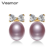 VEAMOR 100% Genuine Brand Pearl Jewelry Natural Pearl Earrings For Women And Girls 18K Gold Color Stud Earring Gift(China)