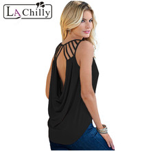 La Chilly Fashion 2017 Sexy Tops Summer Dames Kleding White Cut Out Draped Back Sleeveless Clubwear Top LC25792 Regata Feminina