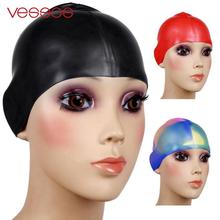 Waterproof Flexible Silicone swimming cap ear protect Long Hair Protection Swim Caps Hat Cover For Adult Children Kids(China)