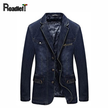 Brand Classic Clothing Men Jackets Denim Blazer Overcoat Slim Fit Jeans Casual Blazer Royal Blue Suit Men's Jacket With Patches