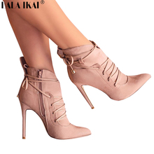 LALA IKAI Women Boots High Heels Ankle Boots Short Plush Pointed Toe Motorcycle Boots Fashion Sexy Winter Lace-up 600C0883 4(China)