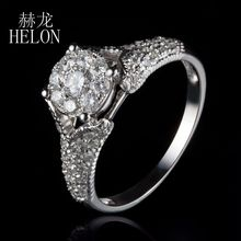 HELON Classic # Solid 18k White Gold Natural Diamonds Solitaire Halo Engagement Wedding Fine Ring Women's Party Jewelry Ring