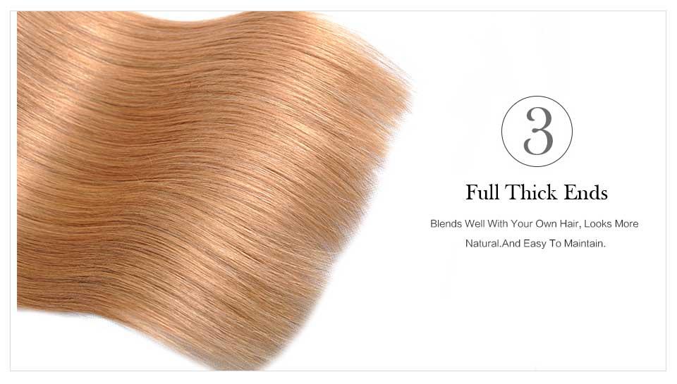 Straight Ombre Brazilian Hair T1B27 Blond Hair Weave (2)